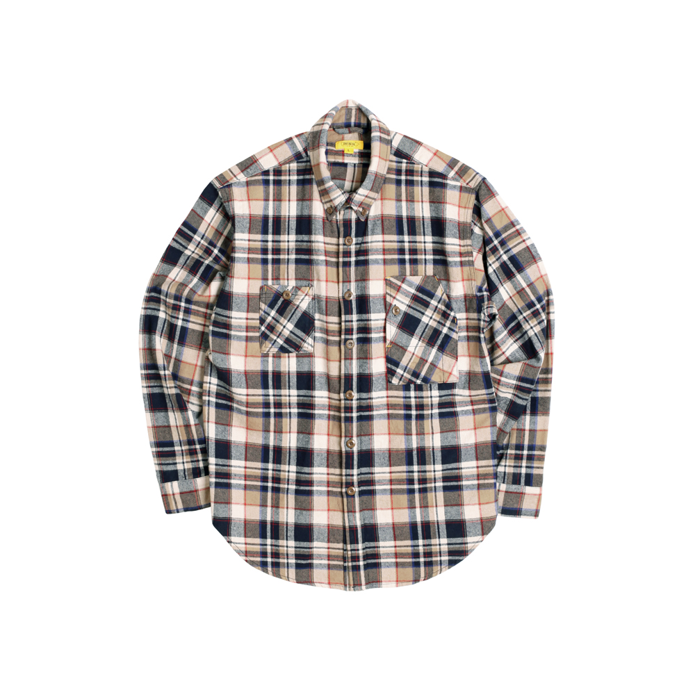 FLANNEL PLAID TEDDY SHIRT [BEIGE]