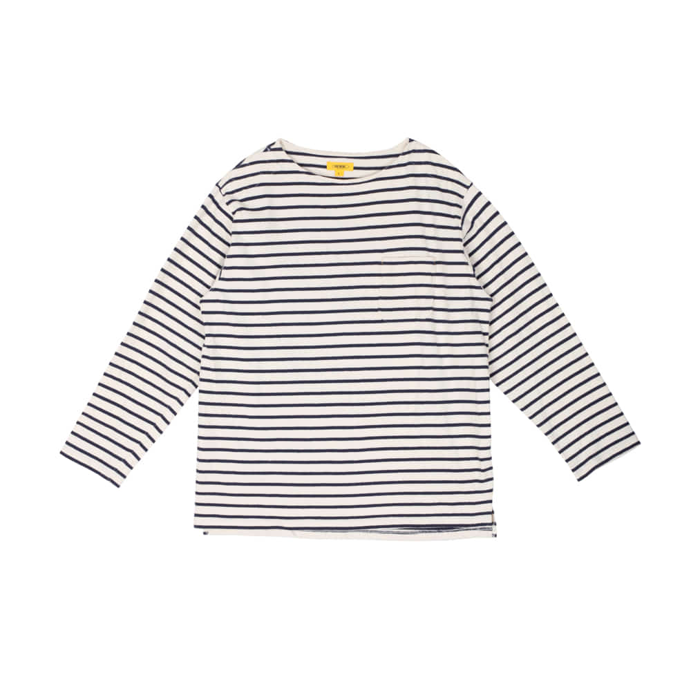 POP STRIPED L/S TEE [NAVY]
