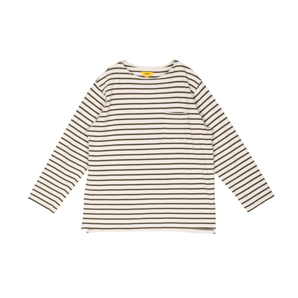 POP STRIPED L/S TEE [KHAKI]