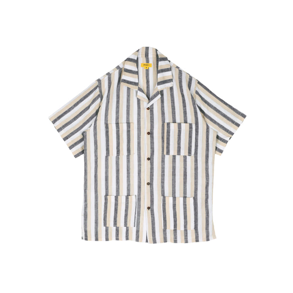 STRIPED LINEN PAPA SHIRT [L/BEIGE]