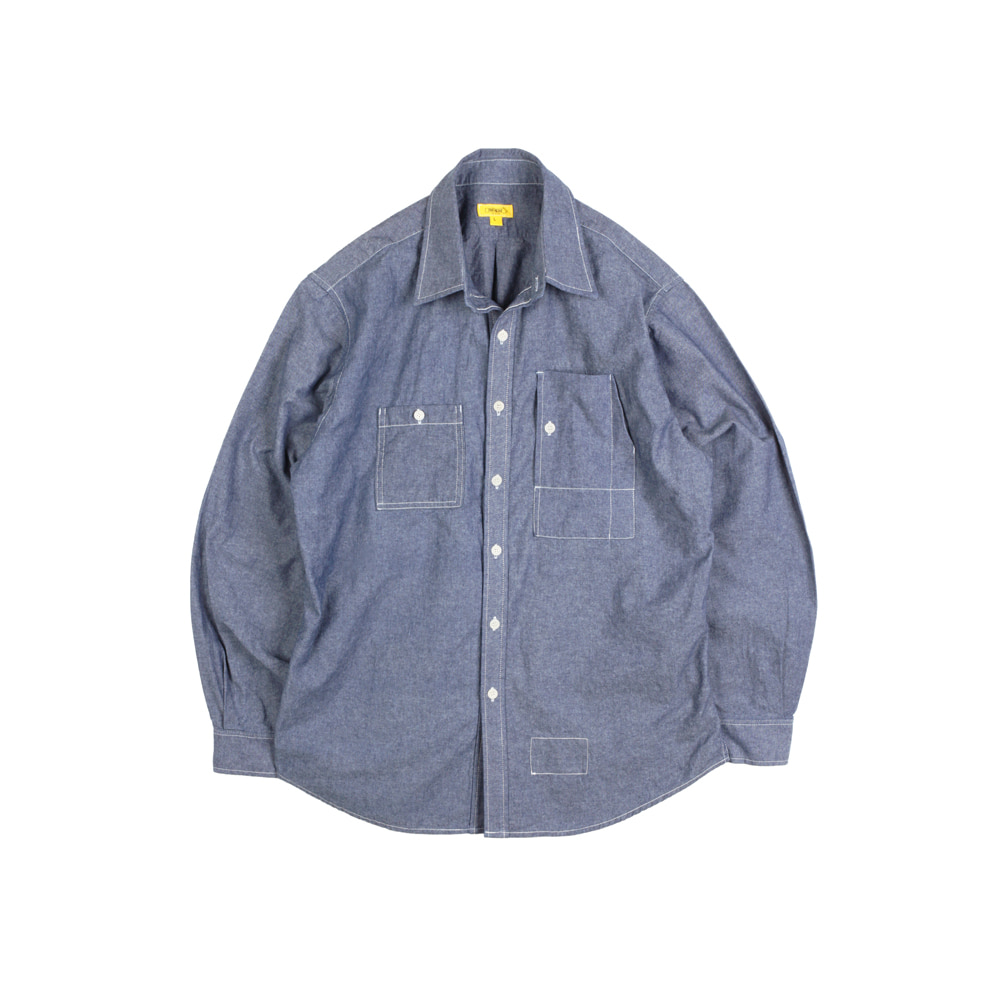 CHAMBRAY TEDDY SHIRT [M-INDIGO]