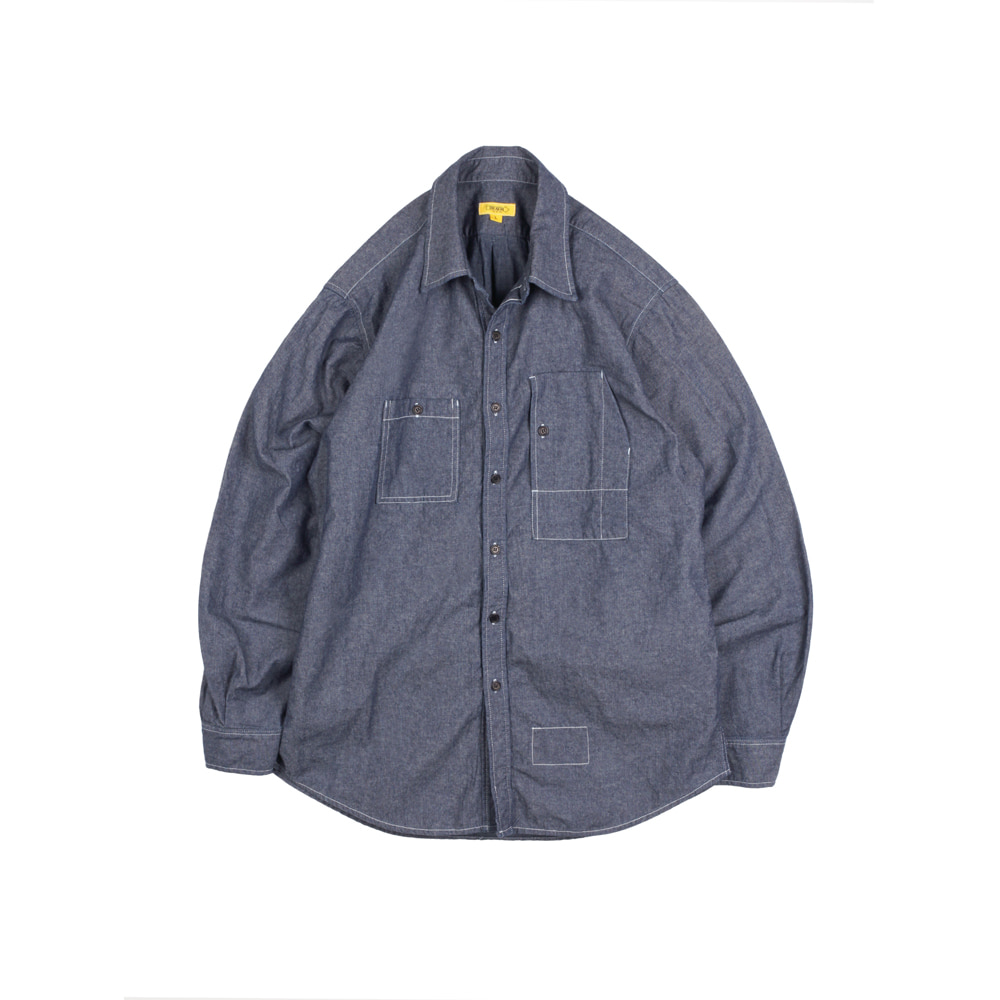 CHAMBRAY TEDDY SHIRT [D-INDIGO]